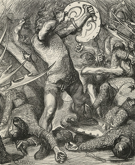 Fighting in the Fens: Hereward cutting his way through the Norman host, by James Cooper, 19th century