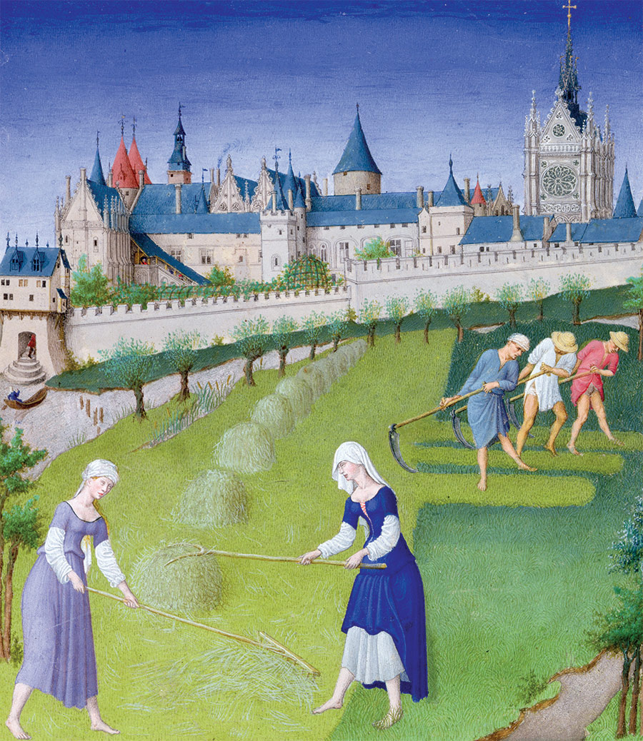 The joys of adulthood: haymaking in June, from the Trés Riches Heures du Duc de Berry, 15th century.