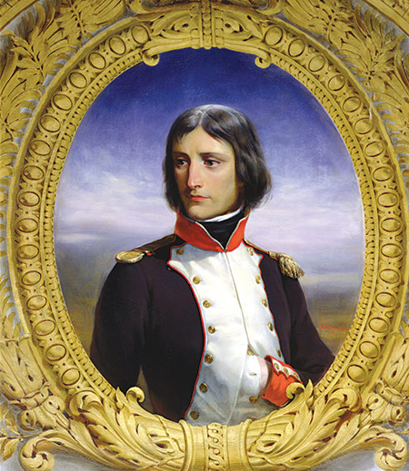 Napoleon, 1792, as Lieutenant Colonel of the 1st Battalion of Corsica by Felix Philippoteaux, 1834.