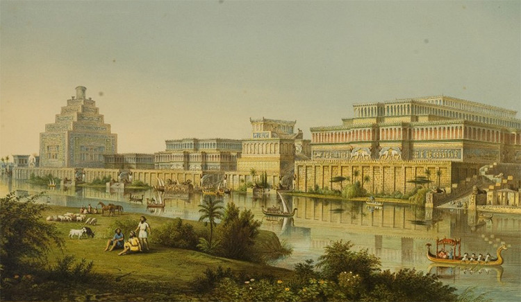 'The Palaces at Nimrud Restored', 1853, imagined by the city's first excavator, Austen Henry Layard and architectural historian James Fergusson