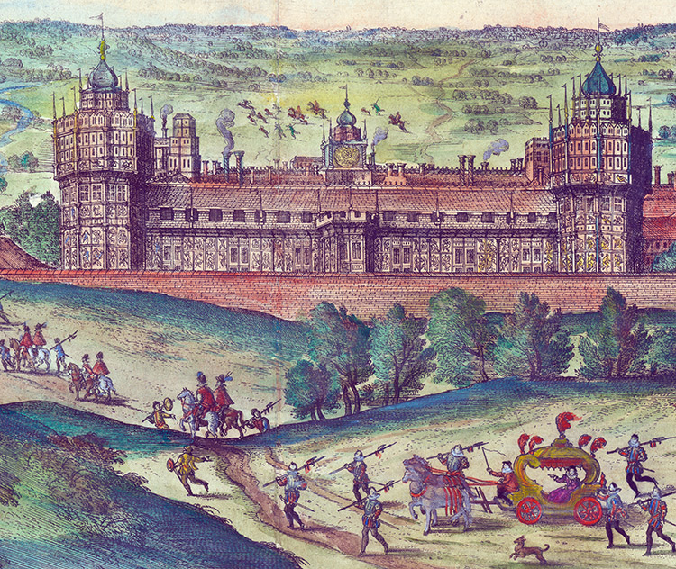 'Nowhere is there anything the like'; the arrival of Elizabeth I at Nonsuch Palace, 1598, engraving by Joris Hoefnagel.