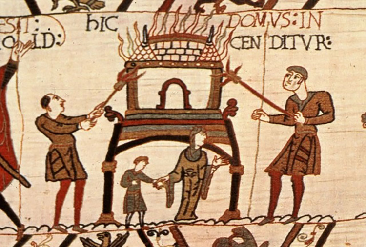 Normans burning Anglo-Saxon buildings, in a scene from the Bayeux Tapestry