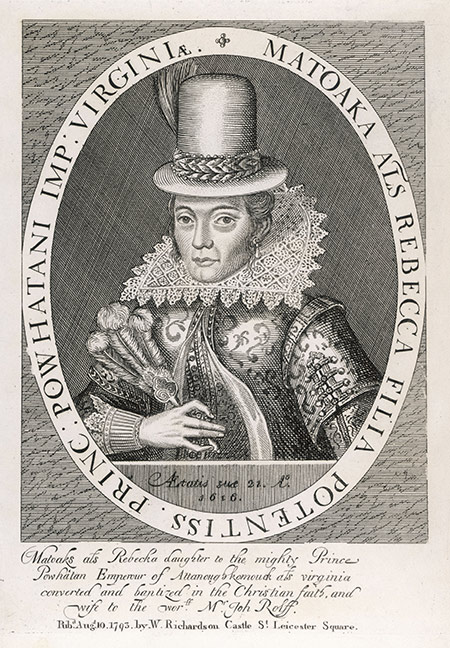 Society woman: Pocahontas by Simon van de Passe, 1616