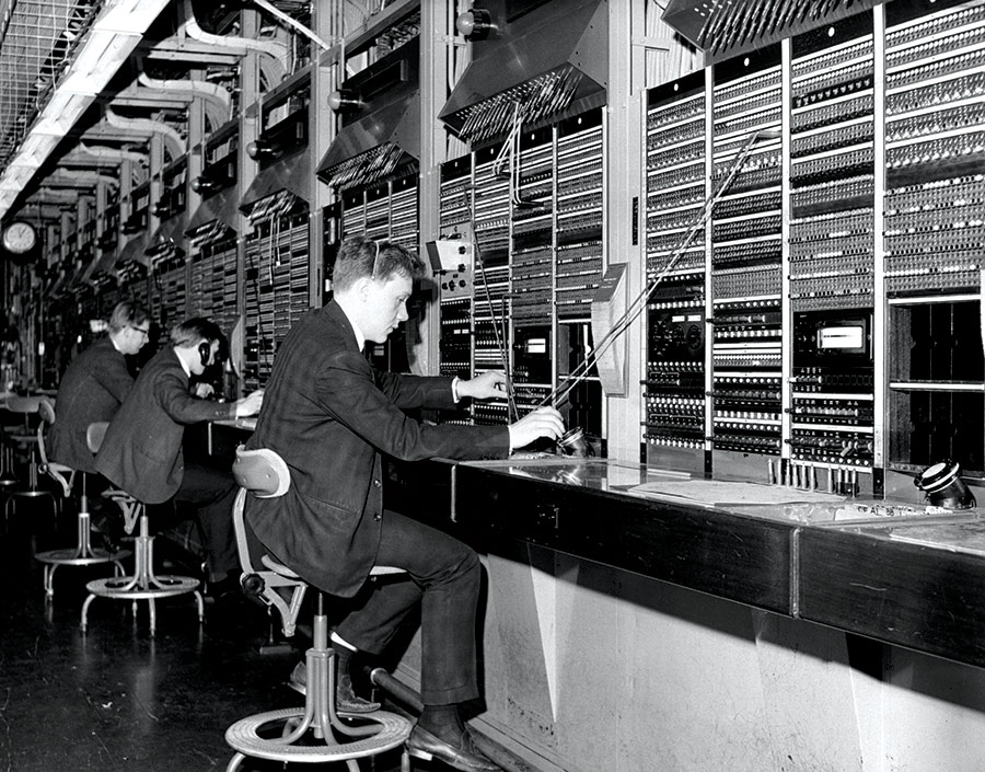These walls have ears: telephone exchange, Holborn, London, 1968.