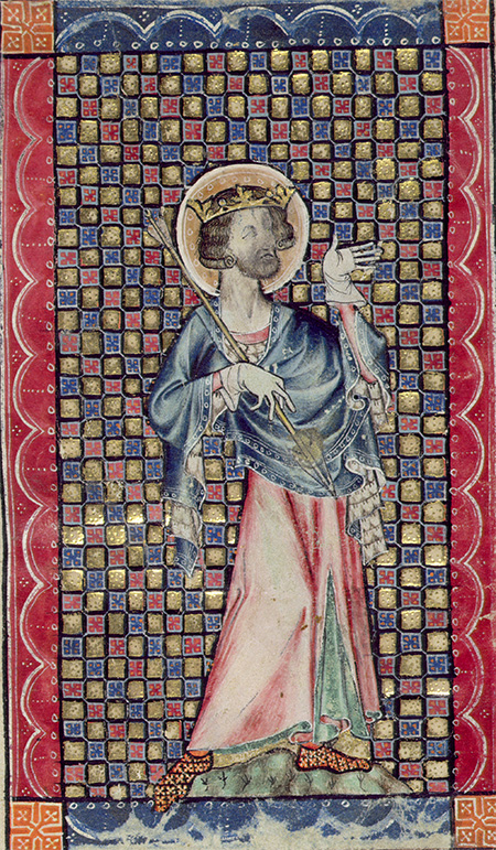 Miracle worker: St Edmund in a miniature from the Macclesfield Psalter, c.1330