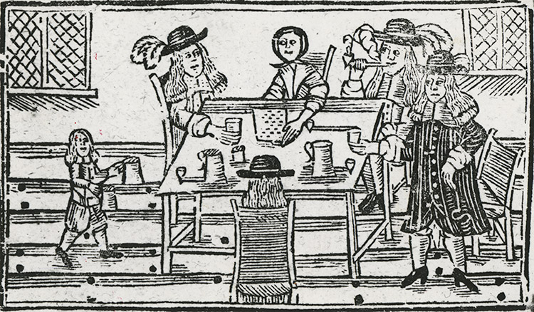 Woodcut of a tavern scene, English, 17th century