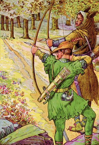 'Robin shoots with Sir Guy', by Louis Rhead