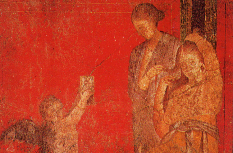 A servant fixes a young woman's hair. Detail of a fresco from the Villa of the Mysteries, Pompeii, c.50 BC.