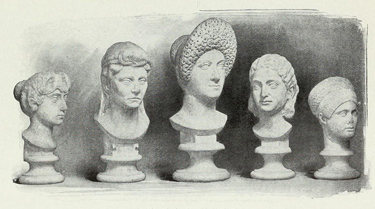 'Types of head-dresses worn in the time of the women of the Caesars', from G. Ferrero, The Women of the Caesars (1911).