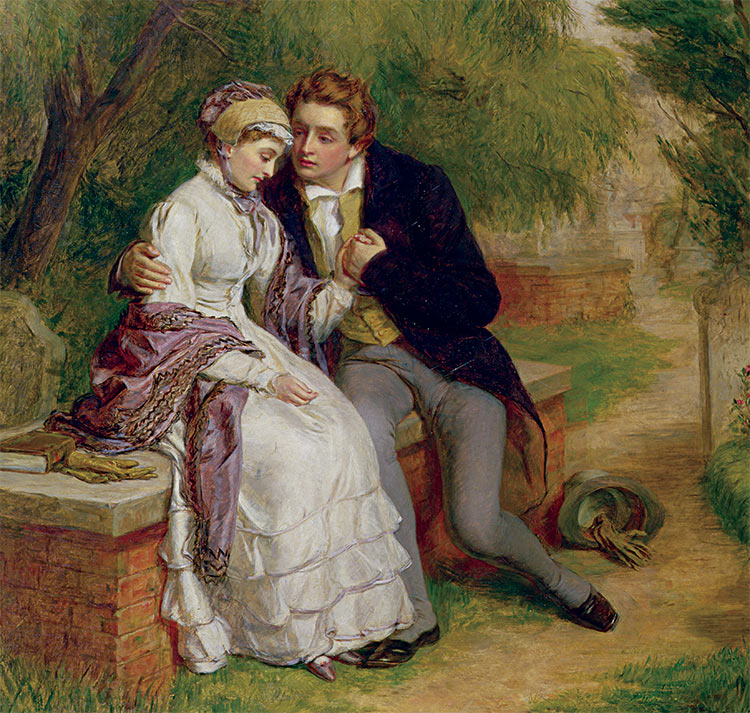 Power couple: The Lover's Seat: Shelley and Mary Godwin in Old St Pancras Churchyard by William Powell Frith, 1877