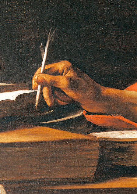Saint Jerome in his Study (detail) by Caravaggio, c.1606