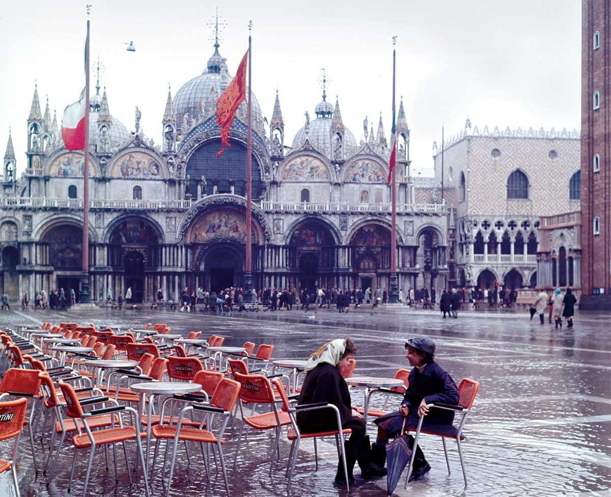 Rainy day: a flooded Piazza San Marco, Venice, 1966.