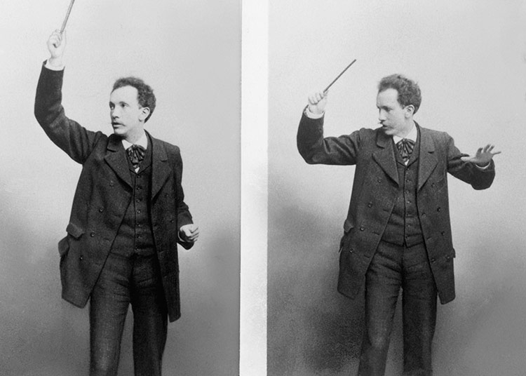 'Arch-fiend of Modernism': Richard Strauss rehearsing in Weimar, Germany, 1890s.