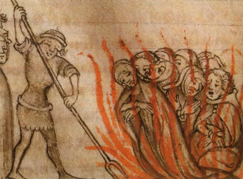 Templars being burned at the stake.