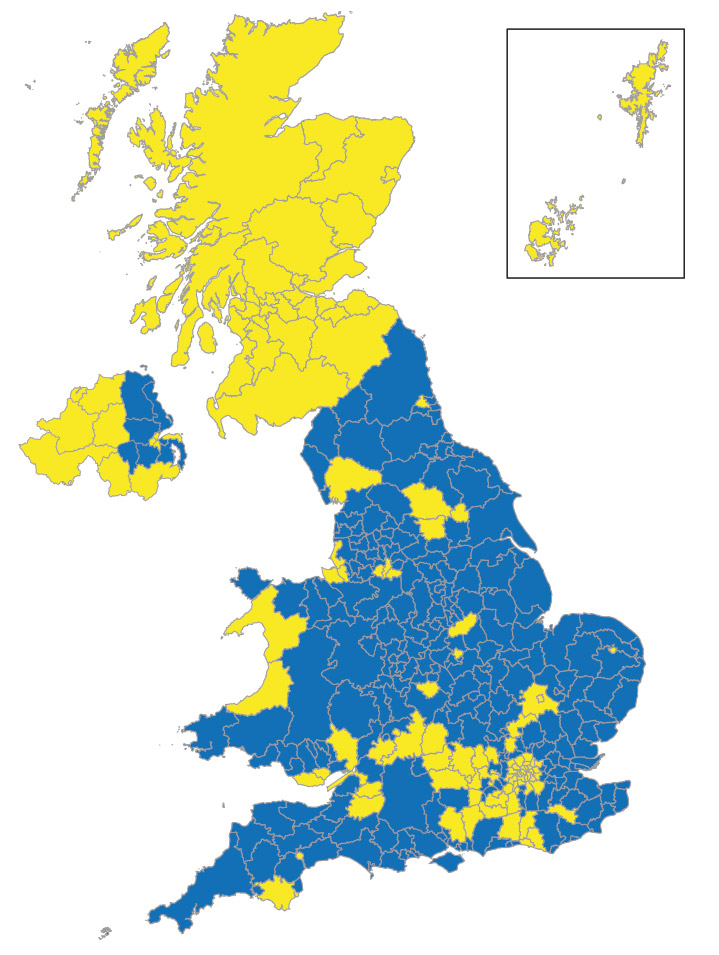 1638 0r 2016? A map of the EU referendum results, with areas that voted Leave in blue.