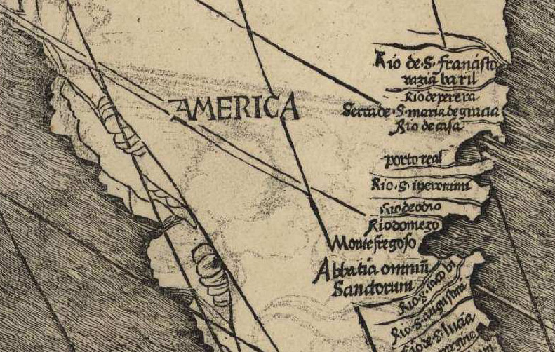 Image result for the name america first used on a map in 1507