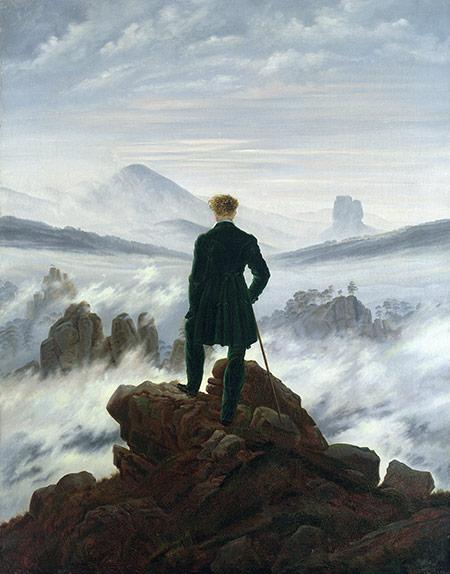 A world to survey: The Wanderer Above the Sea of Fog by Caspar David Friedrich, 1818.