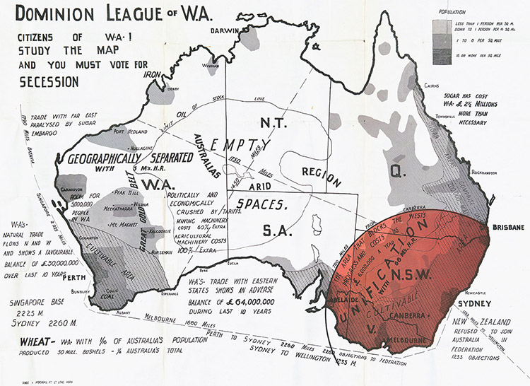 'Westralia Shall Be Free': Dominion League of Western Australia Secession Map, 1930s.
