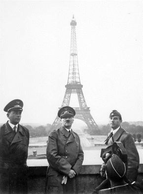 Adolf Hitler visits Paris with architect Albert Speer (left) and artist Arno Breker (right), June 23, 1940