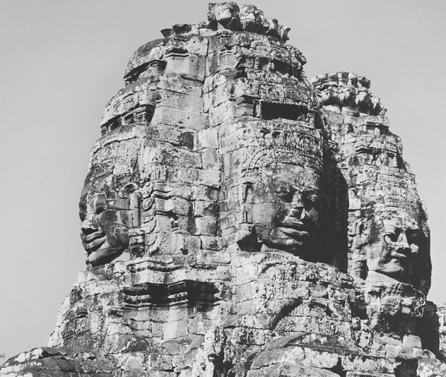 View of one of the towers of the Temple of Bayon, Angkor Thom, Cambodia 12th century