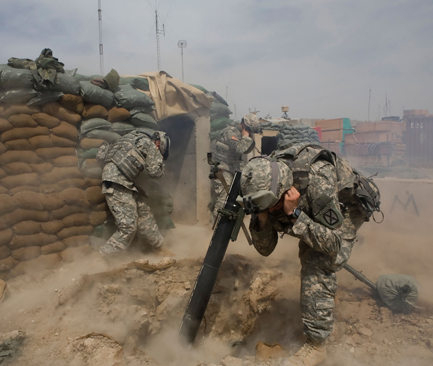 Mortar unit of the US 2nd Brigade Combat team, Iraq, 2007.  © Alamy/The Guardian