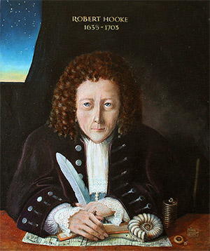 Artist's impression of Robert Hooke, 2004