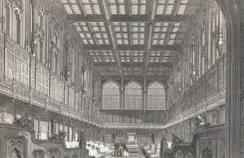 Etching of the House of Commons in the 19th century