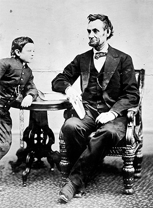Photograph of Abraham Lincoln with his son Tad (Thomas), who died aged 18 in 1871
