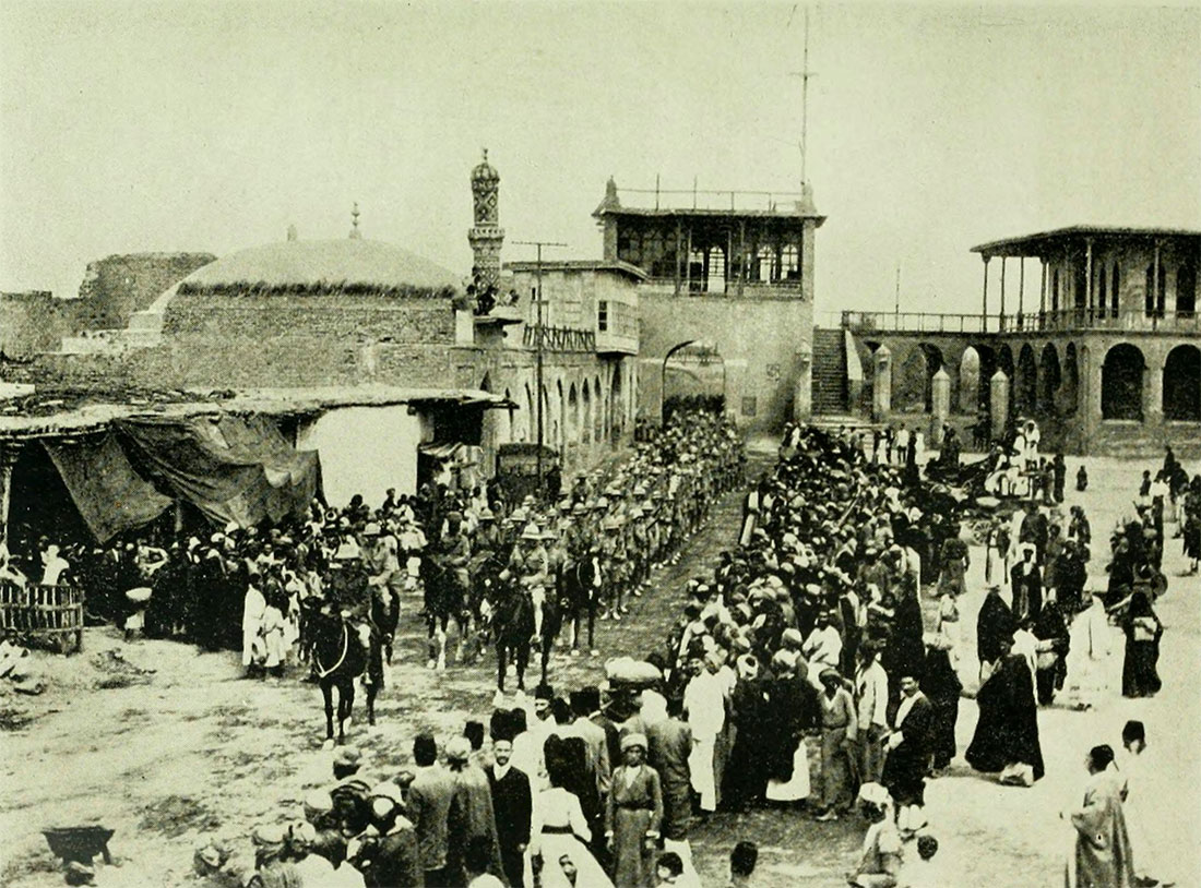 The British Indian Army entering Baghdad in 1917.