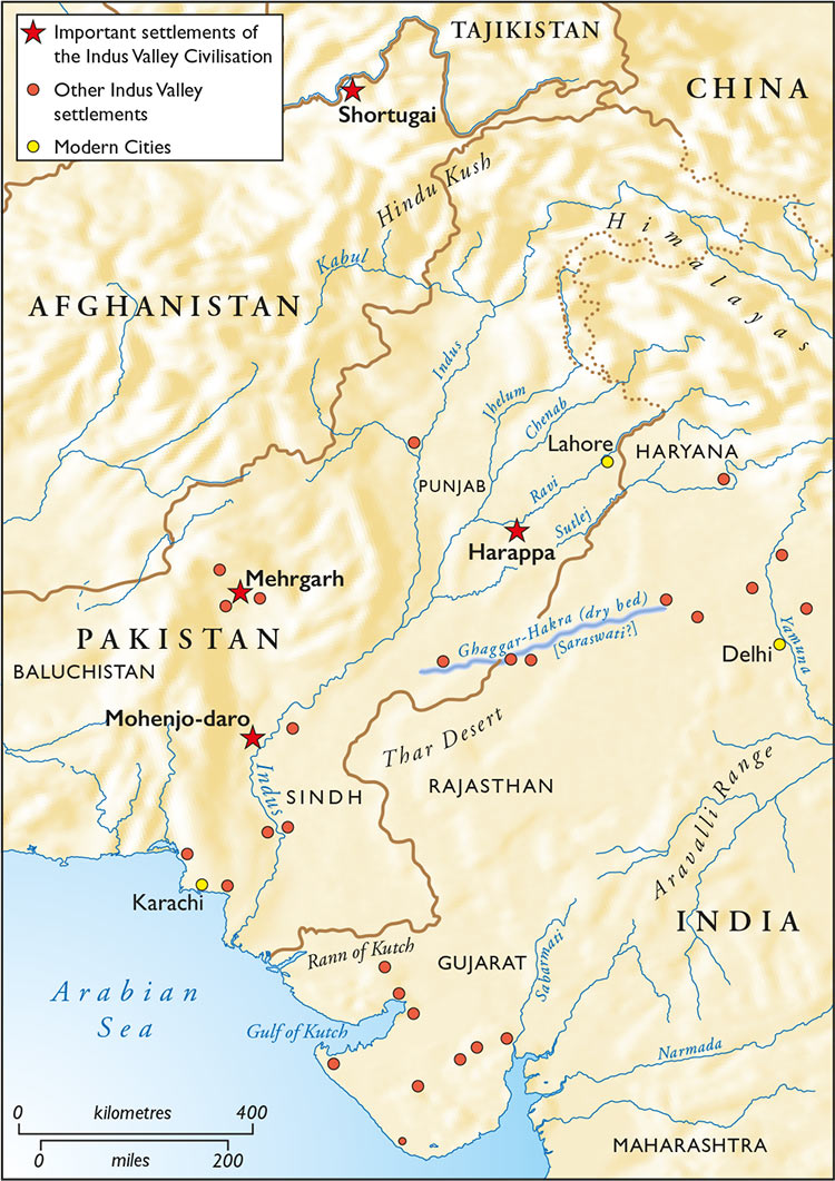Settlements of the Indus valley civilsation located in modern Pakistan, India and Afghanistan.