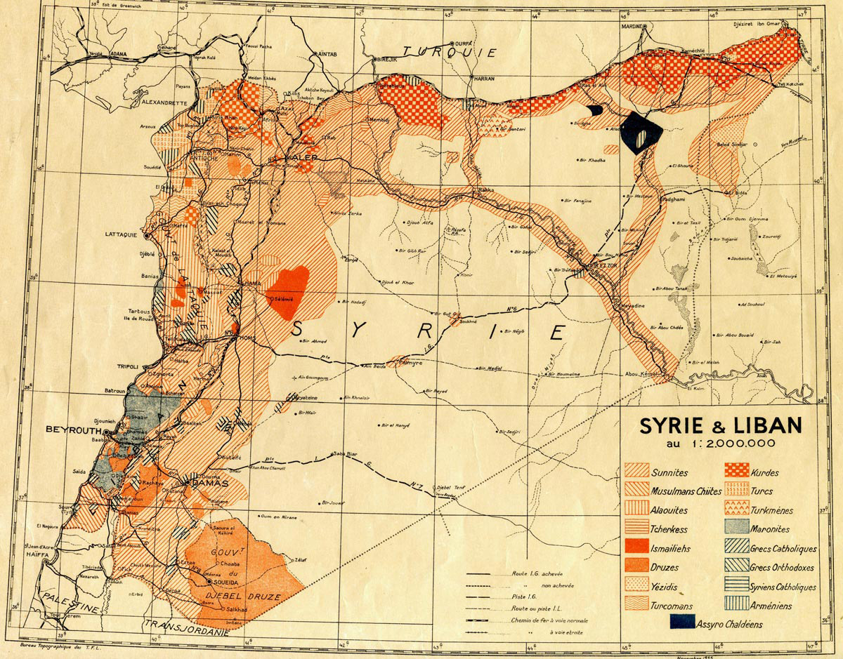 Population map of Syria and Lebanon, c.1935.