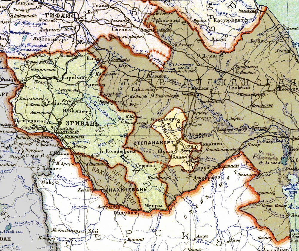 Map of the Transcaucasian Socialist Federative Soviet Republic showing the Nagorno-Karabakh region, 1928.