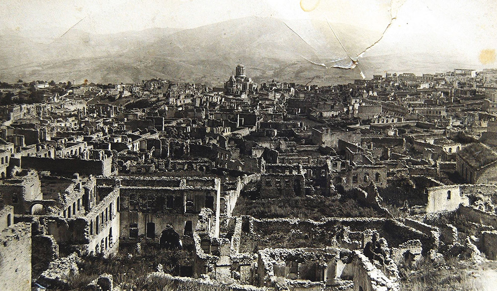 Armenian boroughs in Shusha destroyed by Azerbaijani armed forces in 1920.