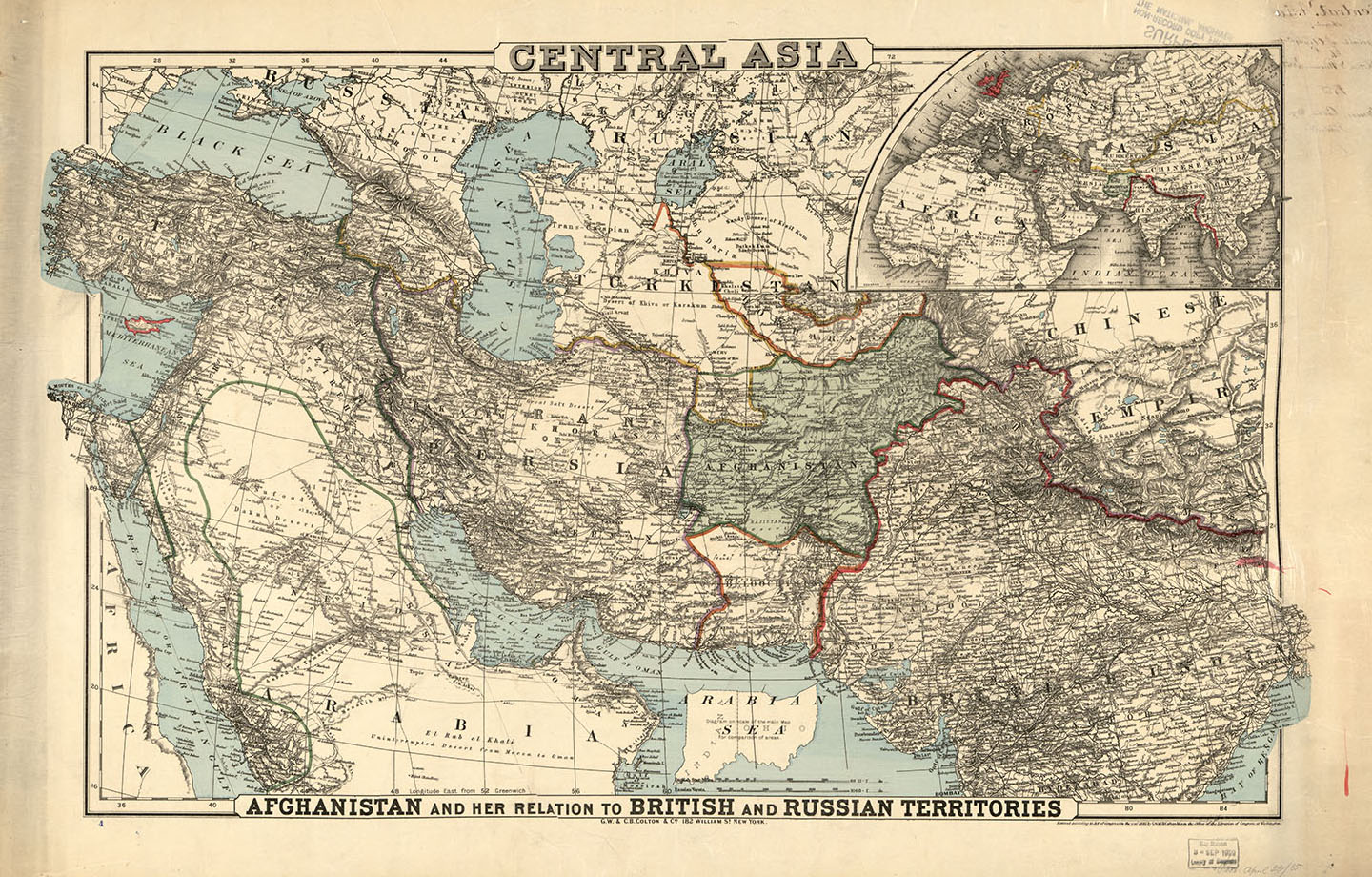 Map of Central Asia, 1885.