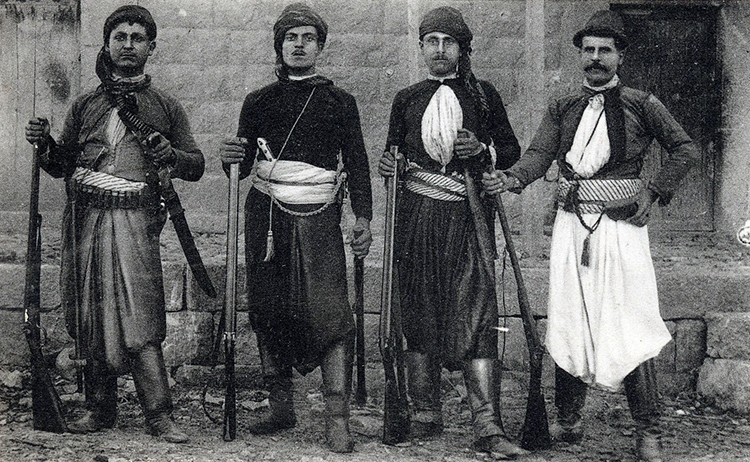 French postcard showing four Christian men from Mount Lebanon, late 1800s.