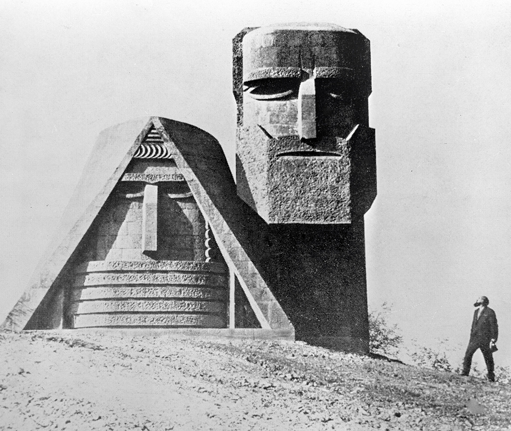 'We Are Our Mountains' monument north of Stepanakert, 1978. Completed in 1967, it is a symbol of Armenian heritage in the region.