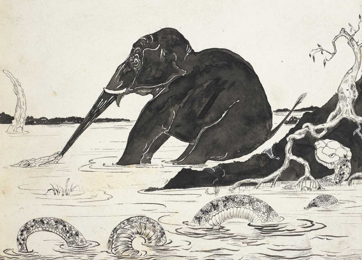 Rudyard Kipling's illustration of the elephant's child for his Just So Stories, 1902.