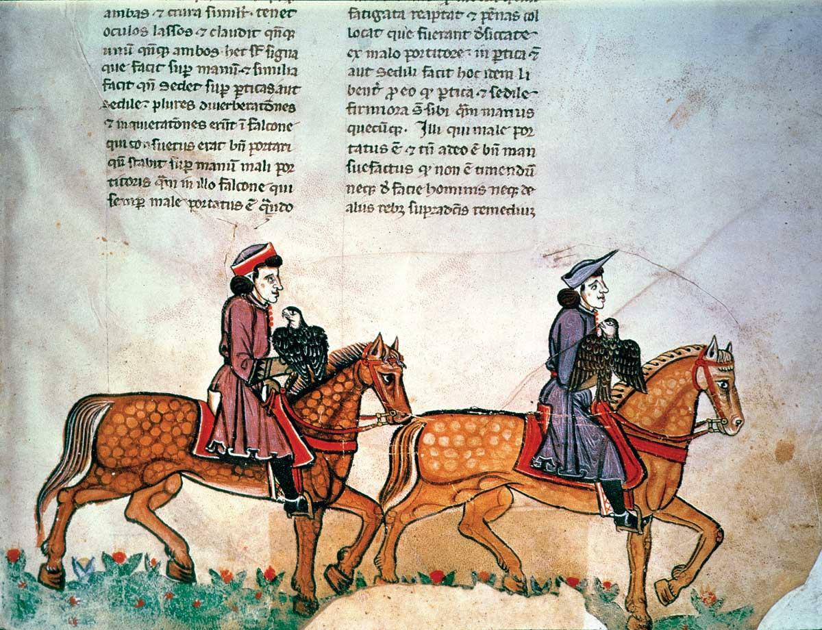 Two horsemen with falcons, from De arte venandi cum avibus, Italian, 13th century.