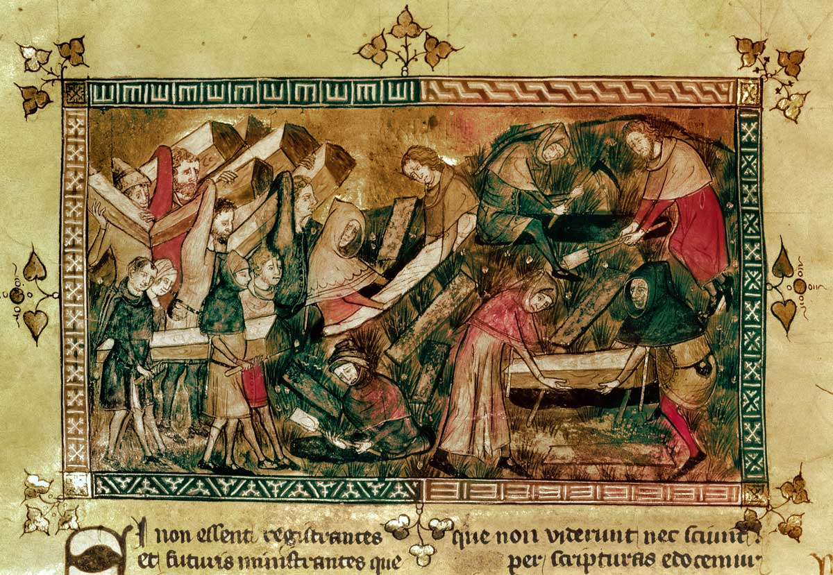The Black Death at Tournai in 1349, Flemish, 14th century.