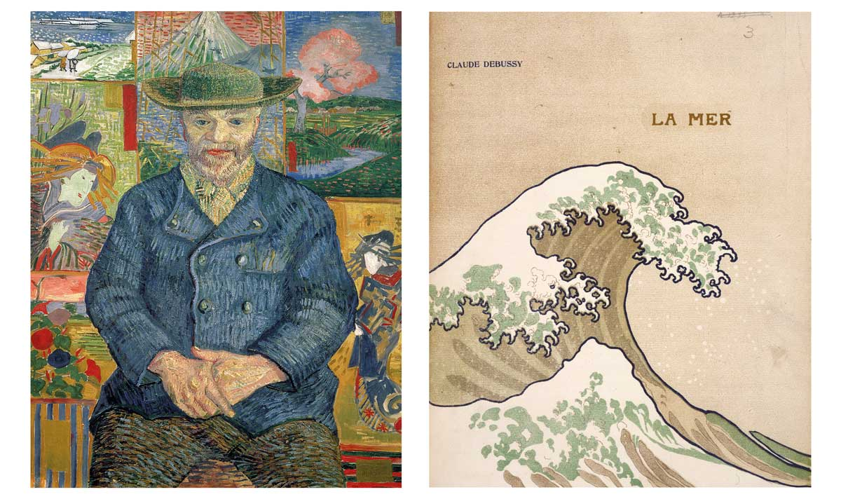 Portrait of Père Tanguy by  Vincent van Gogh, 1887; Reproduction of The Great Wave off Kanagawa by Hokusai on the cover of Debussy's La mer, 1905.