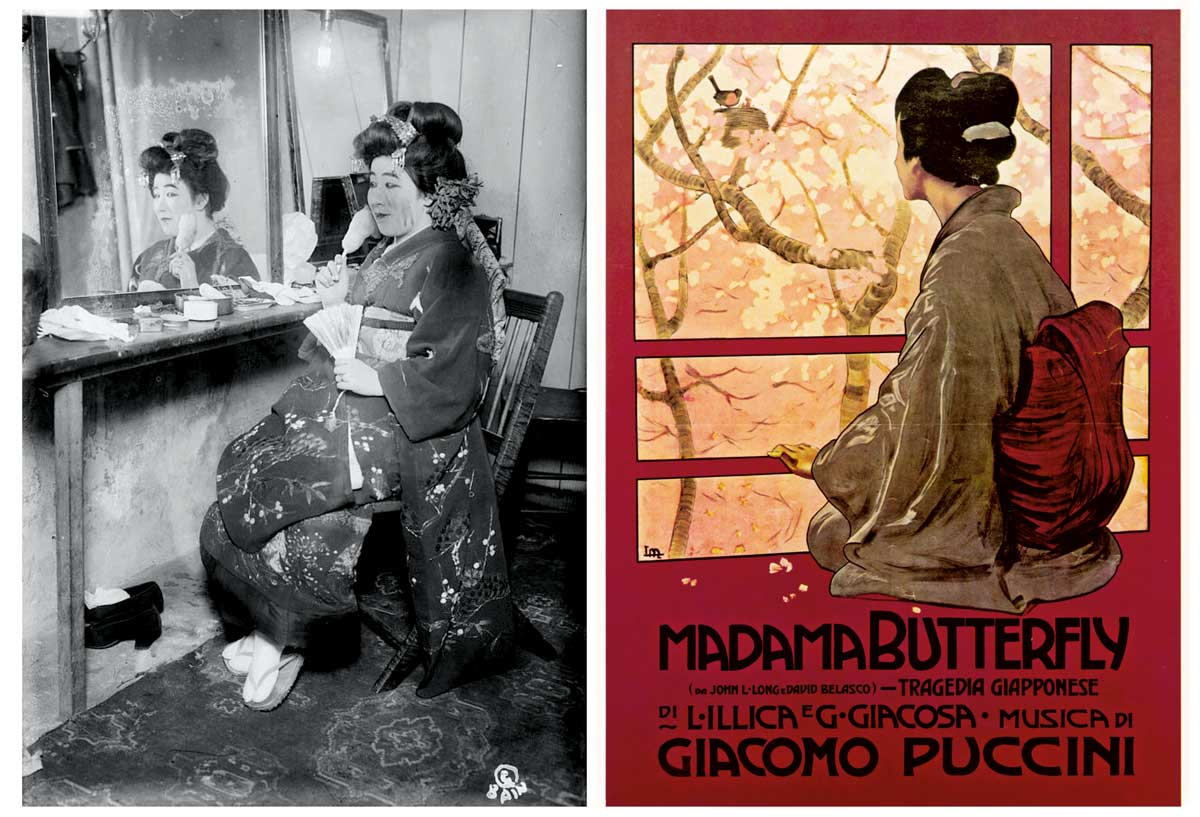 Left: Tamaki Miura in her dressing room, c.1910. Alamy. Right: Poster advertising the earliest score by Puccini, Italian, c.1904 © Mary Evans Picture Library.