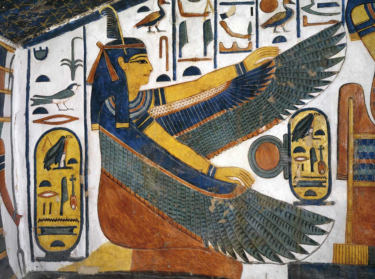 Ma'at spreads her wings for protection. A mural painting from the staircase of Nefertari, 13th century BC, Thebes, Egypt.