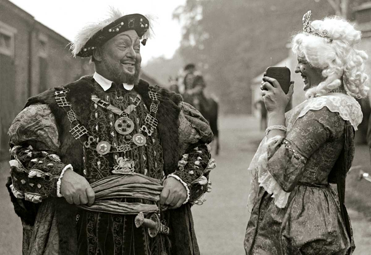 Henry VIII having his photo taken at Esher Pageant, Sandown Racecourse, 1932.