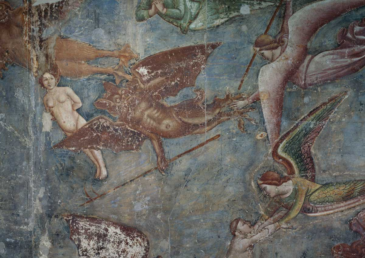 demons in  the form of bats, with angels,  a detail from Buonamico Buffalmacco's Triumph of Death, fresco, 1336-41.