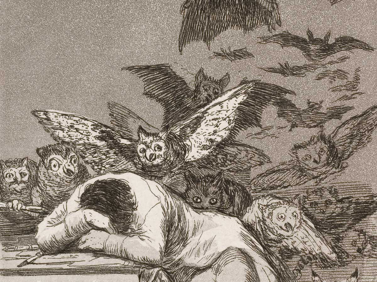 Goya's The Sleep of Reason Produces Monsters, etching, c.1799.