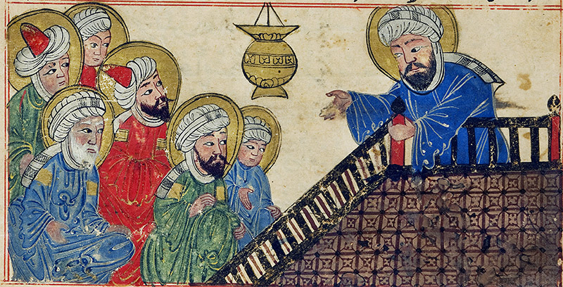 The Prophet Muhammad prohibits intercalation, from The Chronology of Ancient Nations,1307. © Edinburgh University Library/Bridgeman Images.