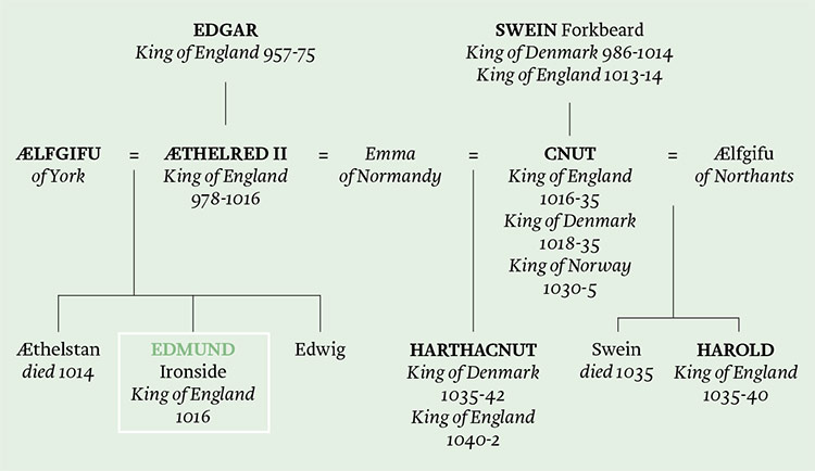 The genealogies of the English and Danish royal families