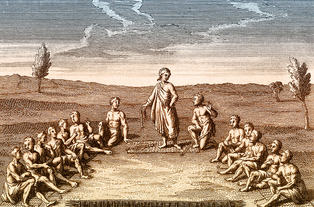 Leaders from the Iroquios Five Nations in an engraving by Joseph-François Lafitau, 1724