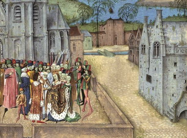 Edward II marries Isabella of France in Boulogne on January 25th, 1308. A detail from a Flemish illuminated manuscript of Jean de Wavrin's Chronique d'Anglaterre, c. 1470-80. AKG Images/British Library