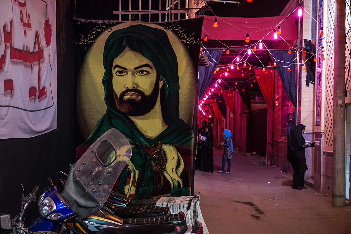 Shia reverence: portrait of Imam Husayn ibn Ali, son of Ali ibn Abi Talib, on a street in Kashan, Iran.